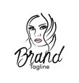 modern beautiful woman logo vector image vector image