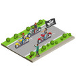 motocross bikers isometric composition vector image vector image
