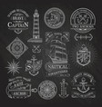 nautical labels on chalkboard background vector image