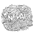nepal country hand lettering and doodles elements vector image vector image