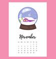 november 2018 year calendar page vector image vector image