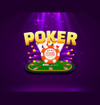 poker table with cards and chips background vector image vector image