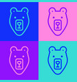 pop art line bear head icon isolated on color vector image vector image