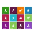 Rocket icons on color background vector image vector image
