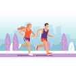 running couple man and woman jogging in vector image