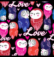 seamless bright pattern with owls in love vector image vector image