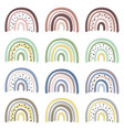 set isolated pastel rainbows part 1 vector image vector image