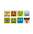 set pixel avatars heroes game concept avatars vector image vector image