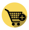 shopping cart with add mark sign flat vector image vector image