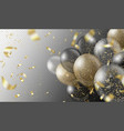 transparent realistic balloons and golden confetti vector image
