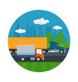 truck and small covered truck drive on the road vector image vector image