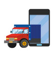 truck with cellphone vector image vector image