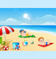 two boy sunbathing on the beach mat vector image