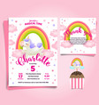 unicorn little pony theme birthday invitation vector image vector image