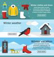 winter vacation banner horizonatal set flat style vector image vector image