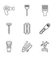 woman hairdresser tools icons set outline style vector image vector image