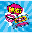 woman mouth with enjoy pop art message and vector image vector image