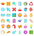 work letter icons set cartoon style vector image vector image