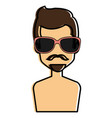 young man shirtless with sunglasses avatar vector image