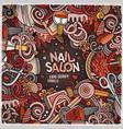 cartoon doodles nail salon frame design vector image