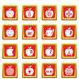 apple logo icons set red square vector image vector image