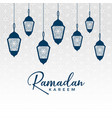 arabic ramadan kareem design with hanging lamps vector image vector image