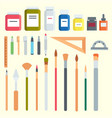 art tools flat painting icons details stationery vector image vector image