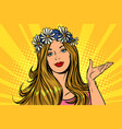 beautiful woman in a flower wreath presentation vector image vector image