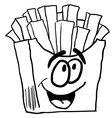 black and white happy french fries vector image