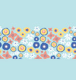 blue pink flowers seamless repeat border vector image vector image