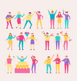 bright characters at cheerful party with huge cake vector image