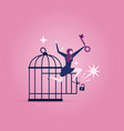 businesswoman with key free herself from cage vector image