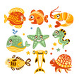 cartoon underwater world with fish plants marine vector image vector image