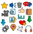 Colorful social media and web icons set vector image vector image