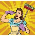 Female cleaner cleaning company pop art retro vector image