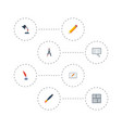 flat icons pen scheme screen and other vector image vector image