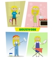 Four of busy cartoon young woman vector image vector image