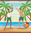 friends in the beach vector image vector image