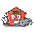 gamer spring day with a red barn cartoon vector image