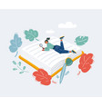 girl read big book big book and read student vector image vector image