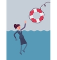 Giving a lifebuoy for drowning businesswoman vector image