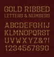 golden ribbed letters and numbers with flourishes vector image vector image