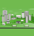 green city skyline with multistorey apartment vector image
