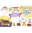 hand drawn birthday party composition vector image vector image