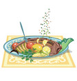 hand drawn festive fish dish template vector image