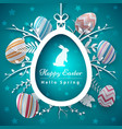 happy easter - paper origami style vector image vector image