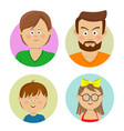 happy family faces flat avatars vector image vector image
