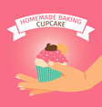 homemade baking with pink cupcake vector image vector image