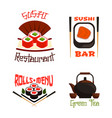 icons for sushi bar or japanese restaurant vector image vector image