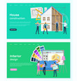 interior design and house construction website vector image vector image